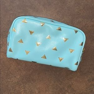 Forever 21 Blue Gold Triangle Makeup Bag Cosmetic